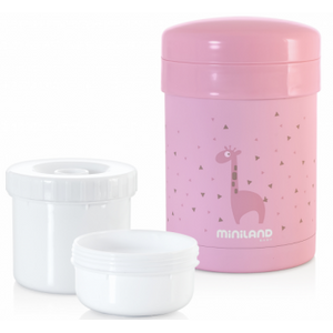 Miniland Thermic Thermos + Pink food cups