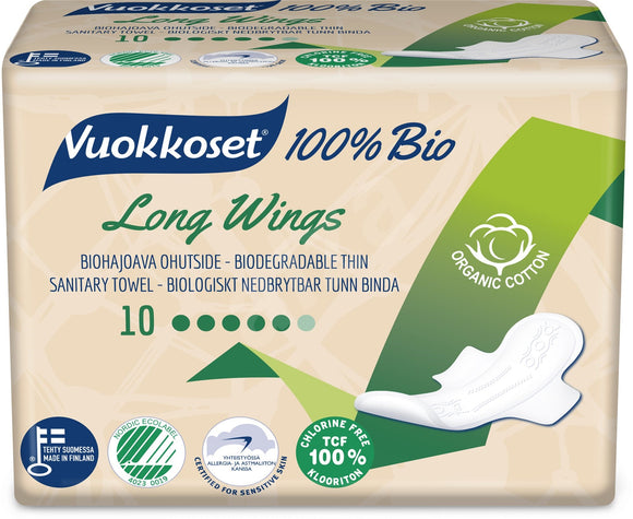 VUOKKOSET 100% BIO Long Wings thin Pads 10 pcs