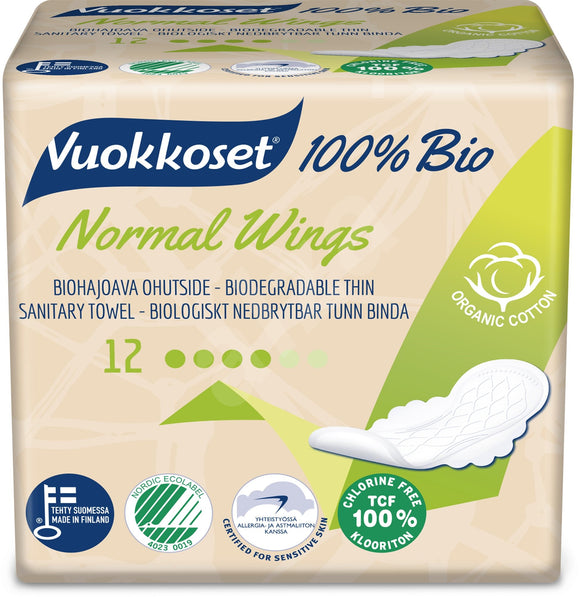 VUOKKOSET 100% BIO Normal Wings thin pads 12 pcs