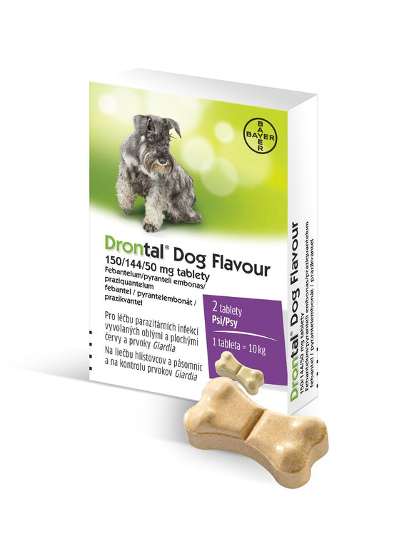 Drontal Dog Flavor 150/144 / 50mg de-worming tablets 2 pcs - mydrxm.com