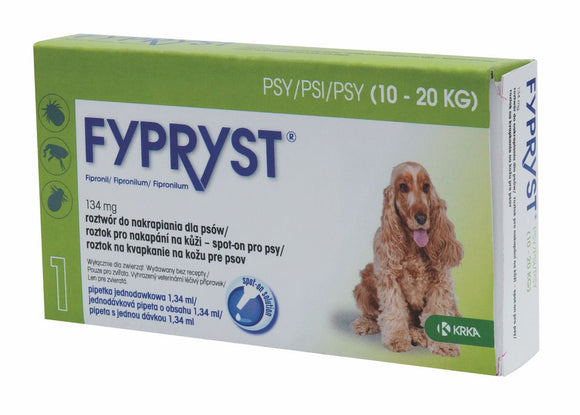 Fypryst spot-on fleas ticks treatment 10 up to 20 kg dogs 134 mg ampule 2 months - mydrxm.com