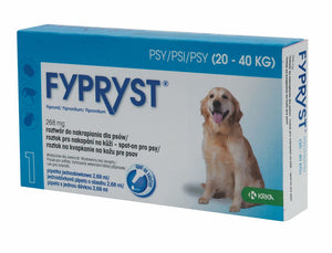 Fypryst spot-on fleas ticks treatment 20 up to 40 kg dogs 268 mg ampule 2 months - mydrxm.com