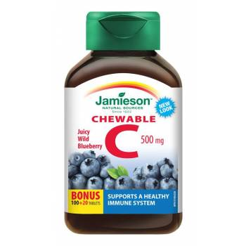 Jamieson Vitamin C 500 mg blueberry flavor 120 chewable tablets - mydrxm.com