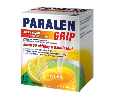 Paralen Grip Flu Hot lemon drink 12 bags