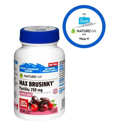 Swiss NatureVia Max cranberries 250 mg 36 lozenges