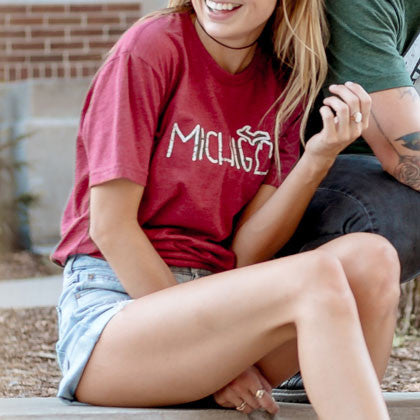 State of Michigan Doodle Red T-Shirt Girls