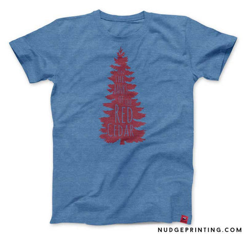 On the banks of the red cedar state of michigan t-shirt blue