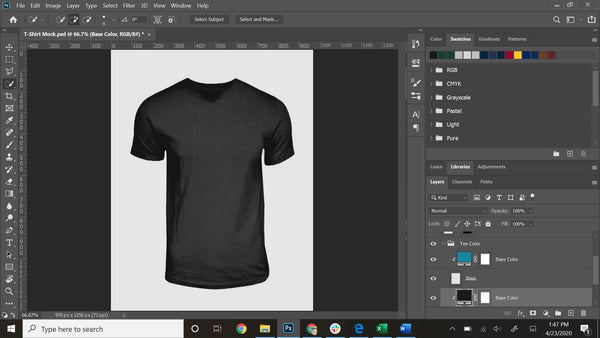 My Photoshop template I use for designing shirts!