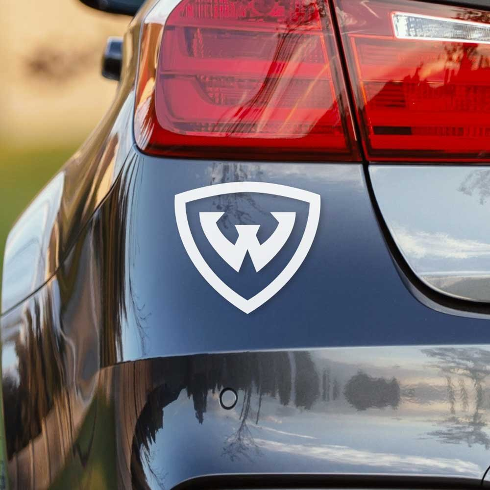 Wayne State University White Shield Logo Car Decal Bumper Sticker Laptop Sticker - Nudge Printing