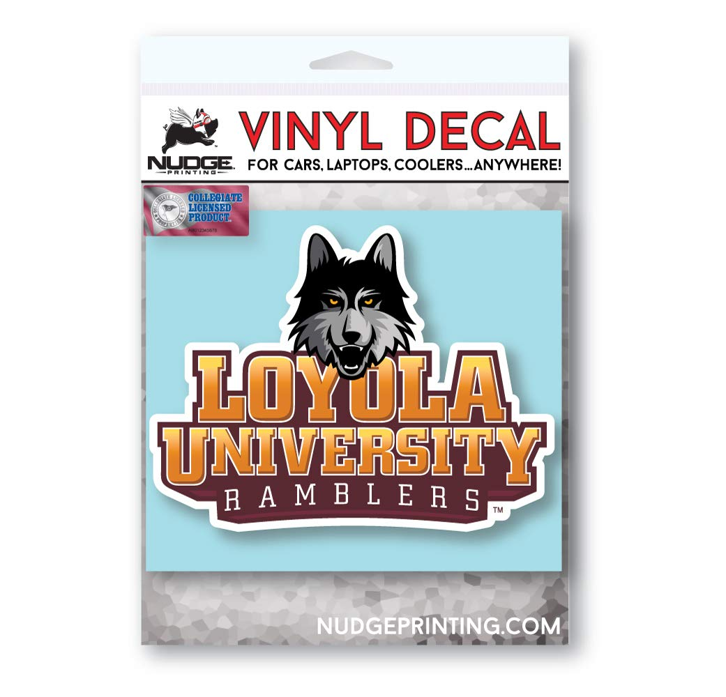 Loyola University Chicago LUC Ramblers with LU Wolf Vinyl Car Window Decal Laptop Bumper Sticker - Full Color - Nudge Printing