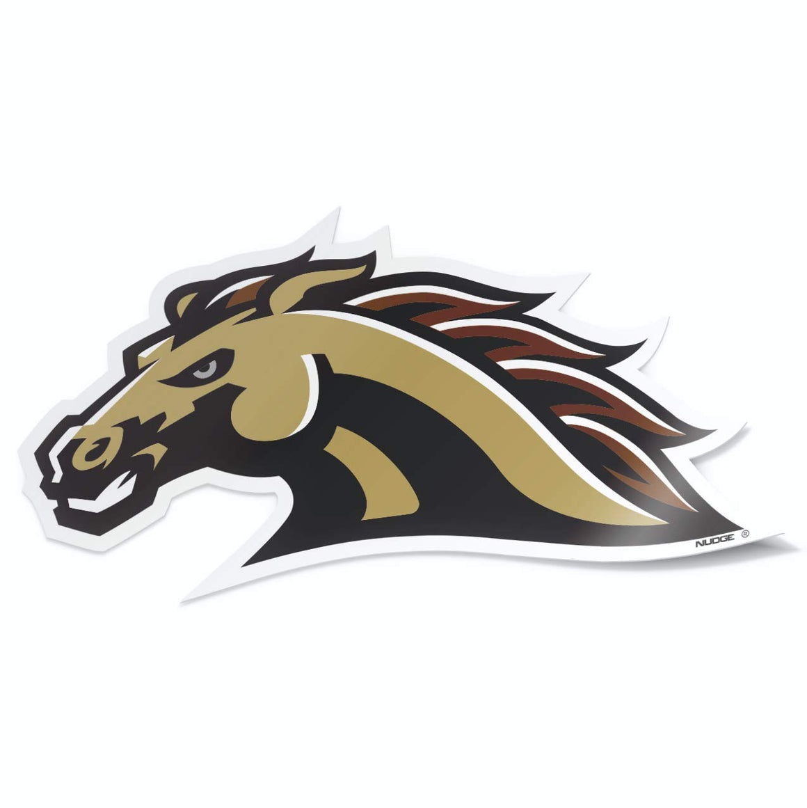 Western Michigan University Bronco Head Brown and Gold Car Decal Bumper Sticker Laptop Sticker - Nudge Printing