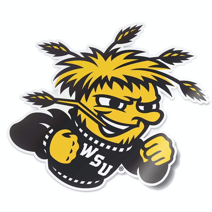 Wichita State University WSU Shockers WuShock Mascot Logo Vinyl Car Window Decal Bumper Sticker Laptop Sticker - Nudge Printing