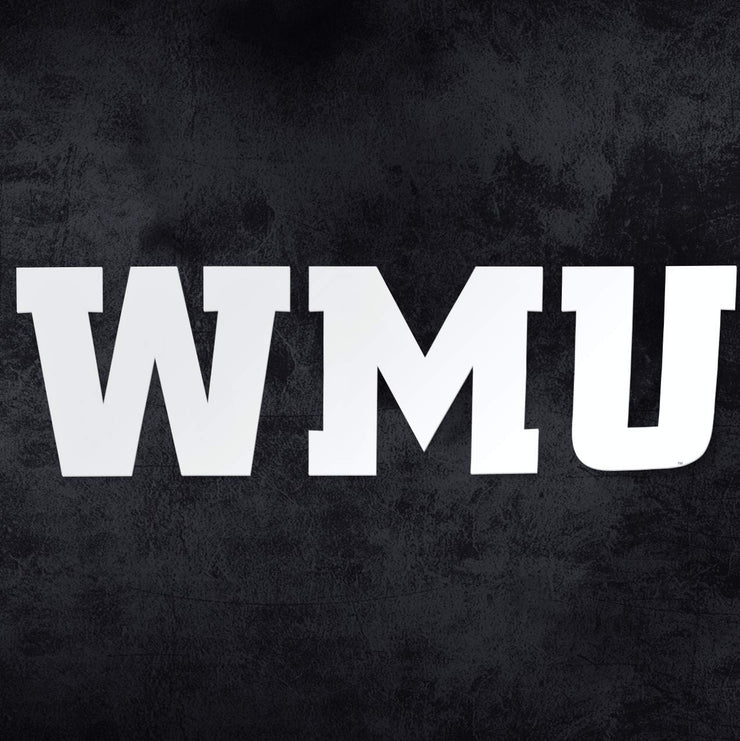 Western Michigan University WMU Broncos White Car Decal Bumper Sticker Laptop Sticker - Nudge Printing