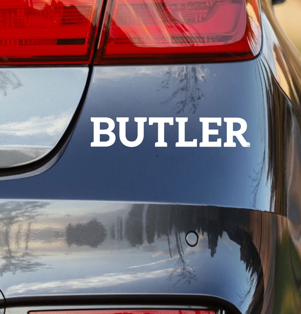 Butler University White Vinyl Car Decal - Nudge Printing