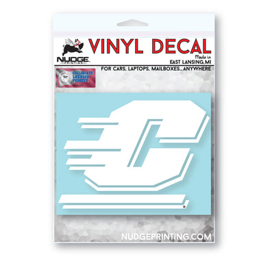 Central Michigan University - Action C in all white Car Decal - Nudge Printing