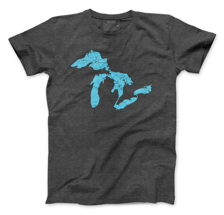 Great Lakes of Michigan Outline of Lake Huron, Ontario, Michigan, Erie, Superior Lakes T-Shirt - Nudge Printing