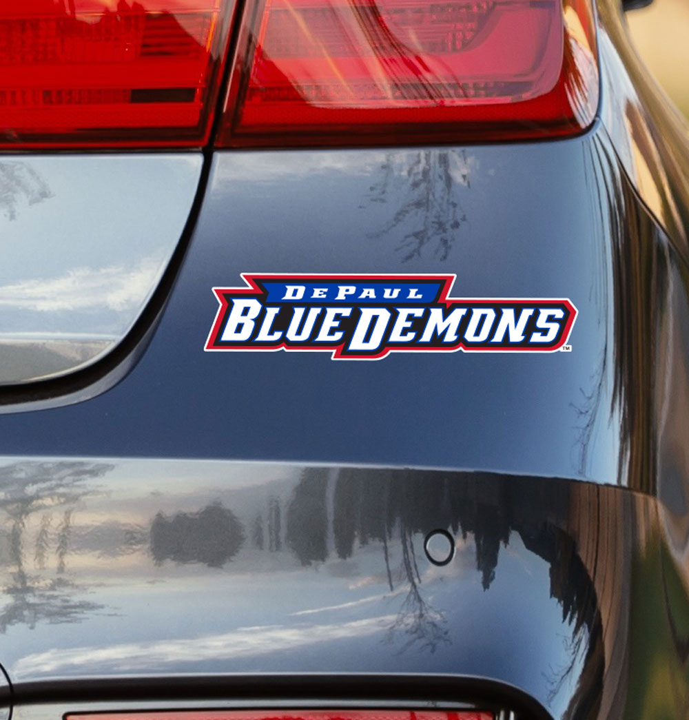 DePaul University Blue Demons Script Vinyl Car Decal Sticker - Nudge Printing
