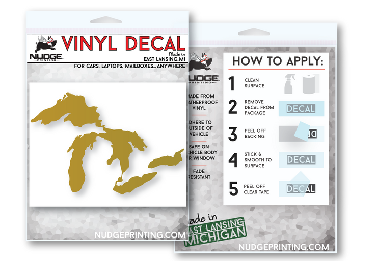 Great Lakes of Michigan Vinyl Decal Window Sticker - Great Lakes Proud - Nudge Printing
