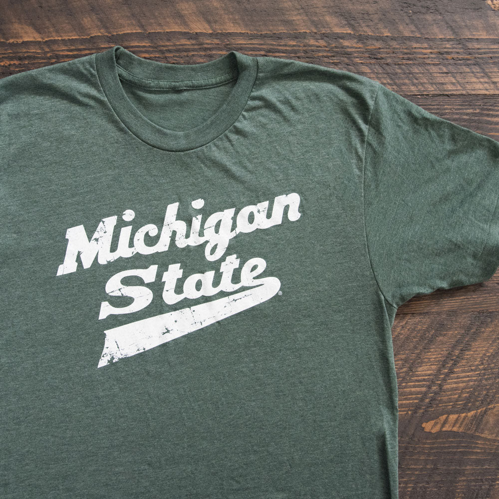Michigan State University Spartan Hockey Script Logo T-Shirt - 2 Color Options - Nudge Printing