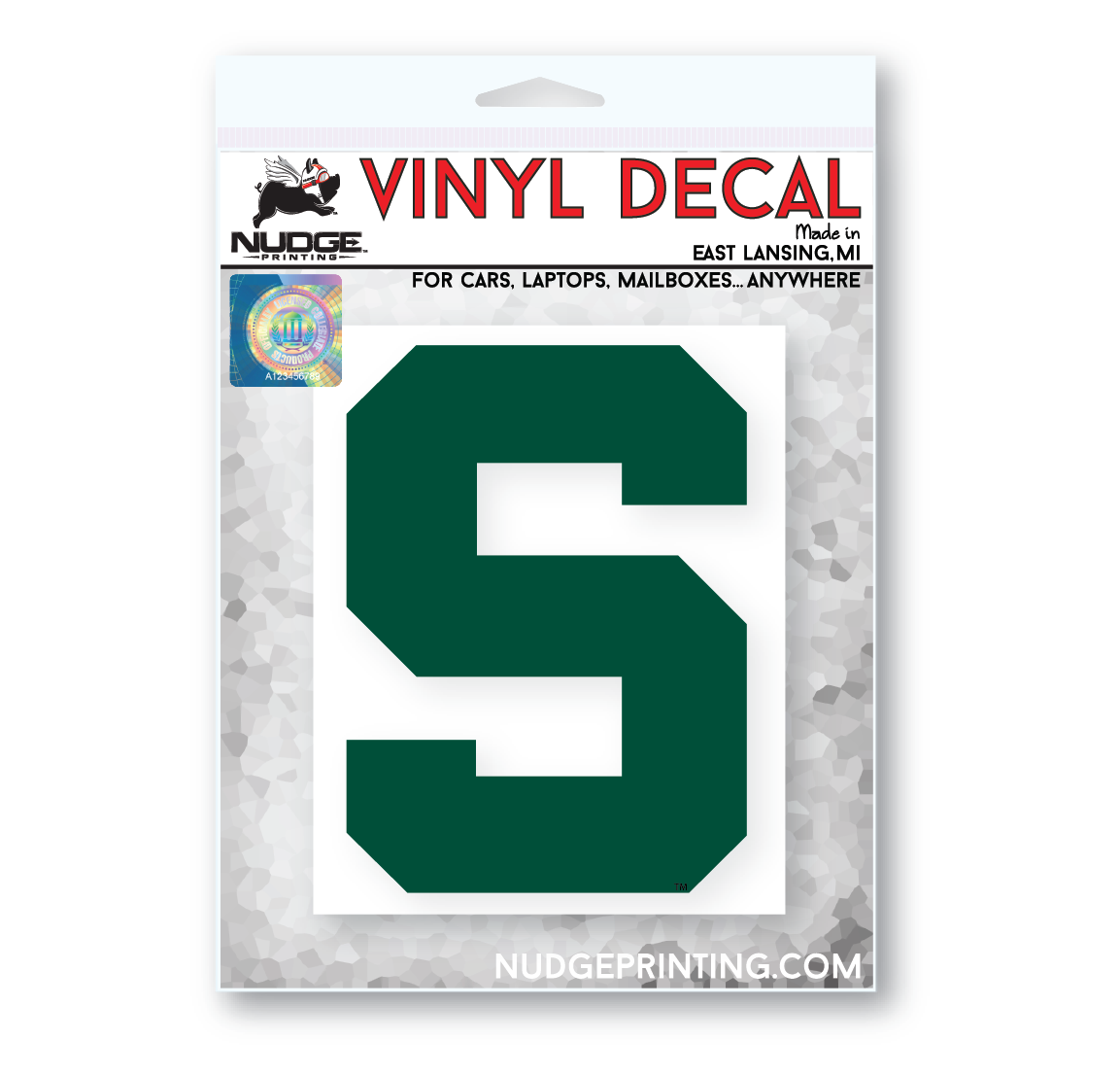 Green Michigan State Block S Car Decal