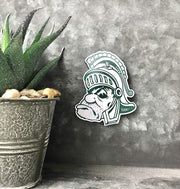 Michigan State Gruff Sparty MSU Wooden Magnet for Refrigerator - Nudge Printing
