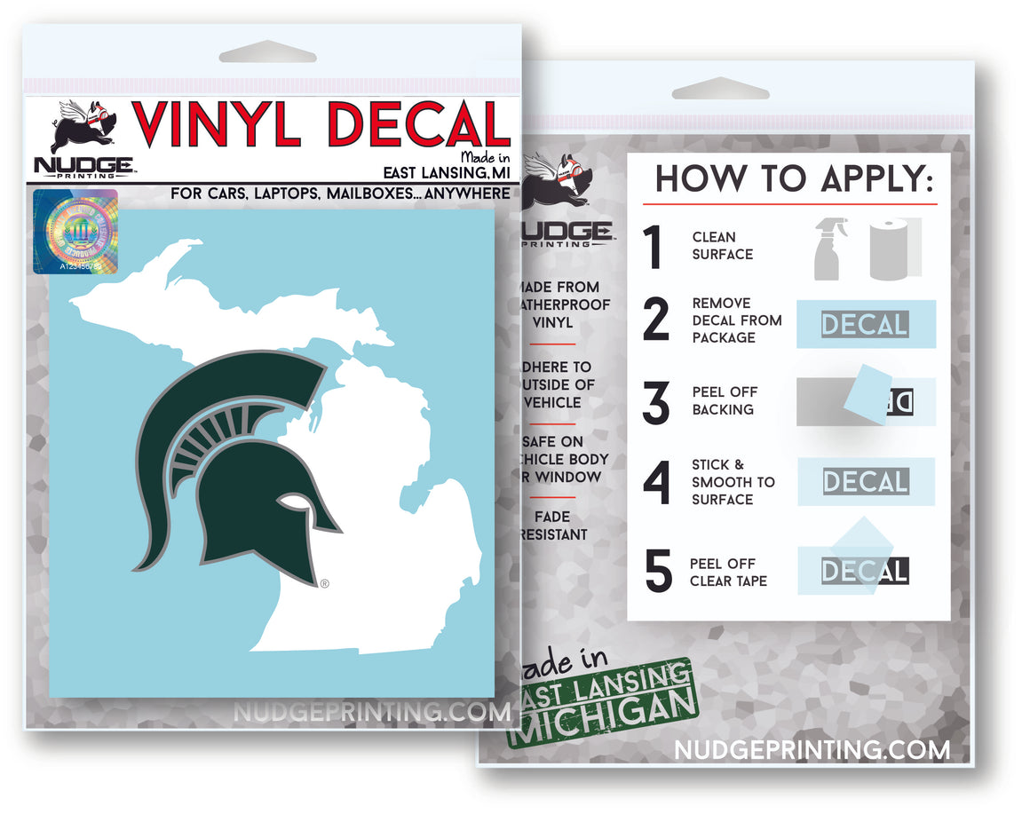 Michigan State Spartan Helmet over State of Michigan Car Decal