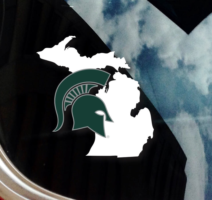 Michigan State MSU Spartan Helmet on State of Michigan Car Decal Sticker - Nudge Printing