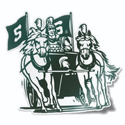Michigan State MSU Vintage Retro Spartan Chariot Vinyl Car Decal Sticker - Nudge Printing