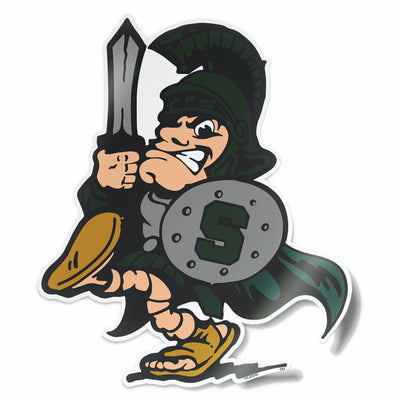 Retro MSU Sword Sparty Logo Michigan State Car Decal Sticker - Nudge Printing