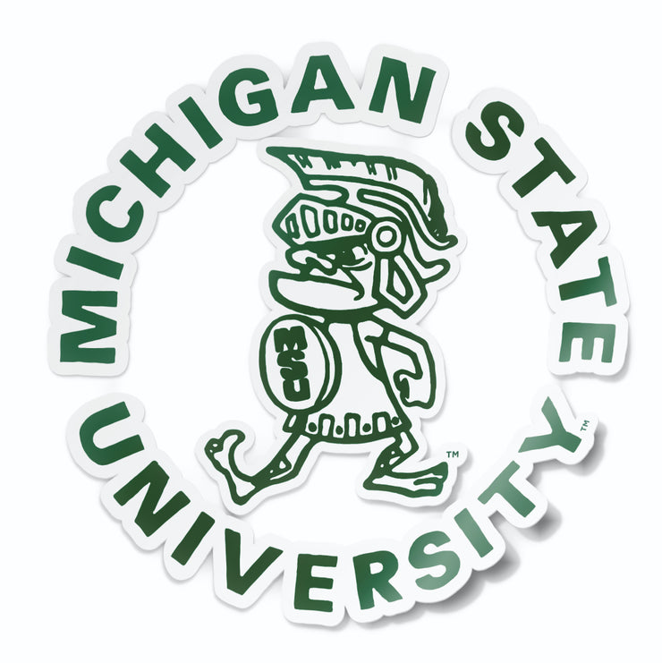 Michigan State MSU Vintage Retro Tough Sparty Vinyl Car Decal Sticker - Nudge Printing