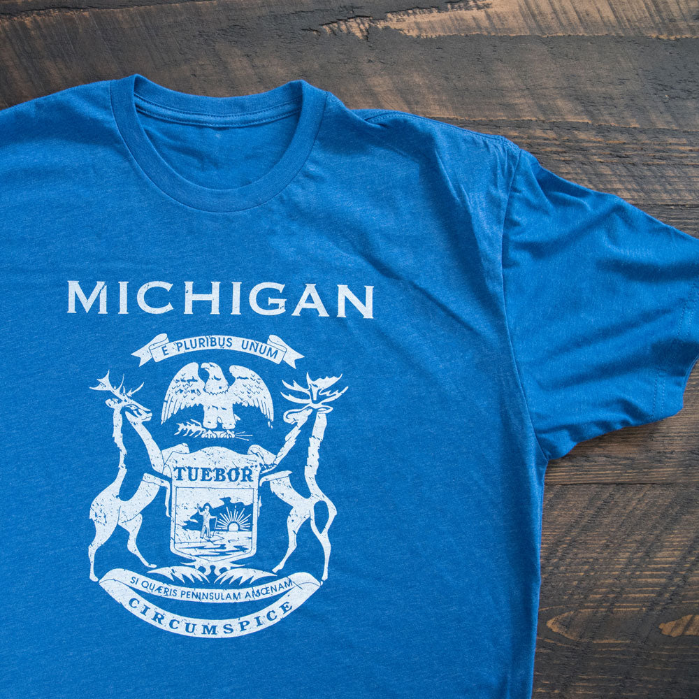 Royal Blue Michigan Flag T-shirt from Nudge Printing