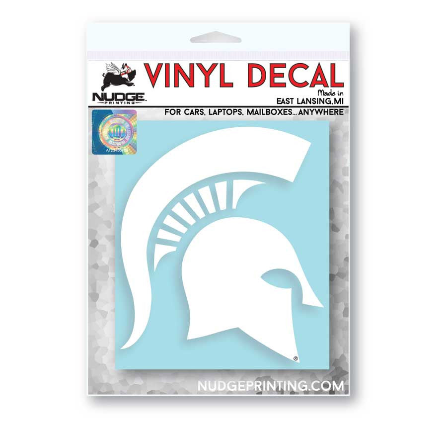 Michigan State MSU Spartan Helmet Sparty Head Vinyl Car Decal Sticker - Nudge Printing