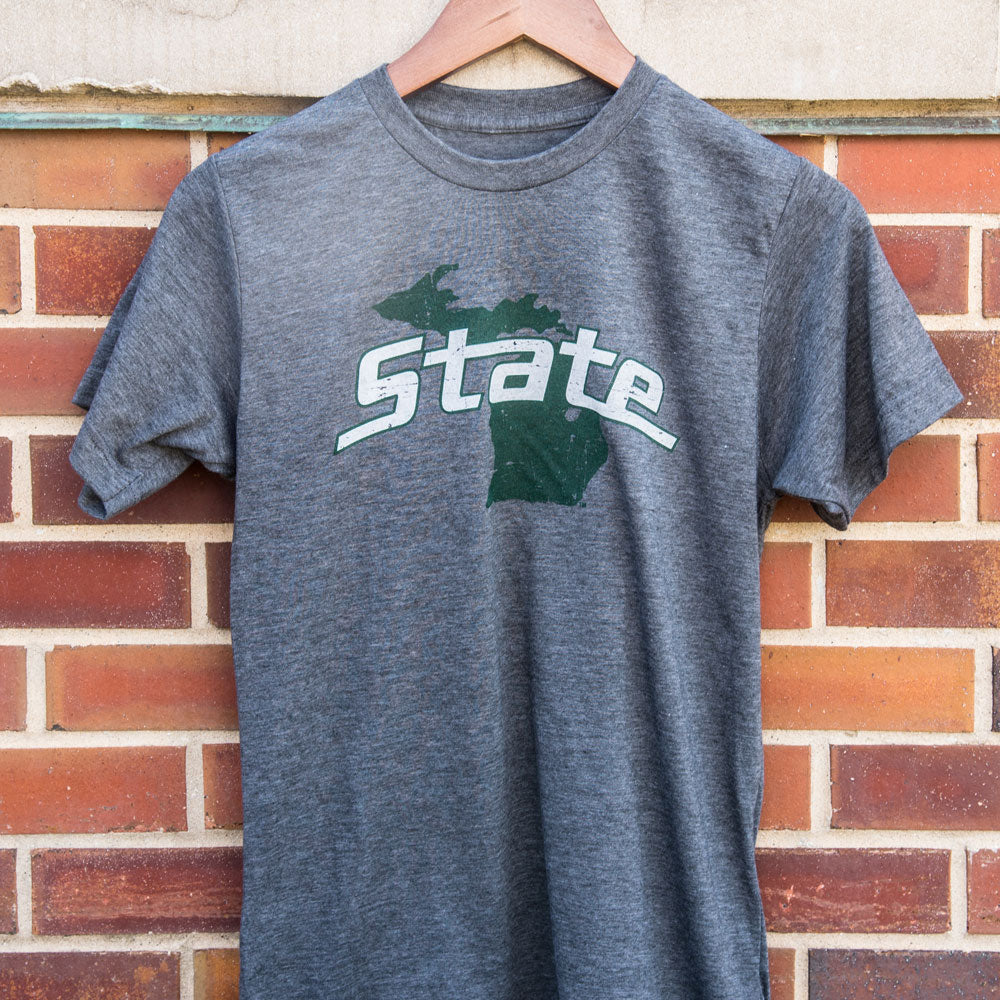 Michigan State University on State of Michigan T-shirt - Nudge Printing