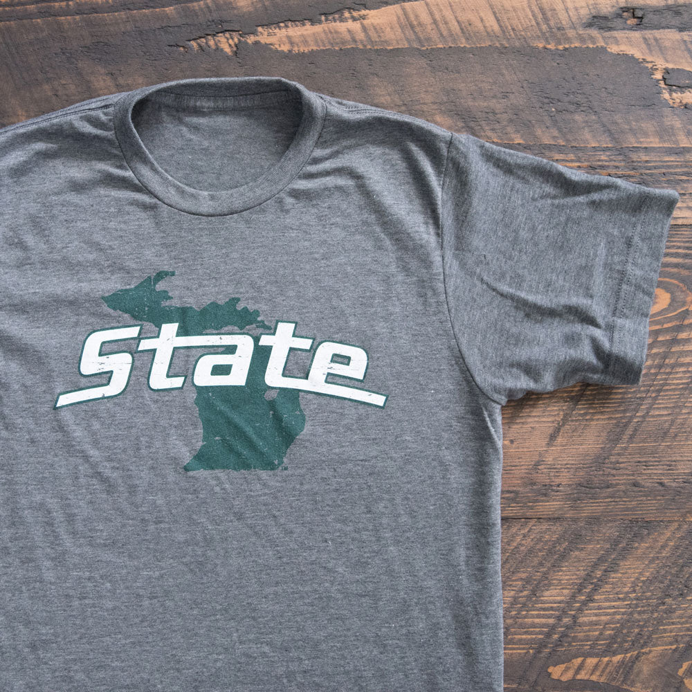 Michigan State University on State of Michigan MSU T-shirt - Nudge Printing