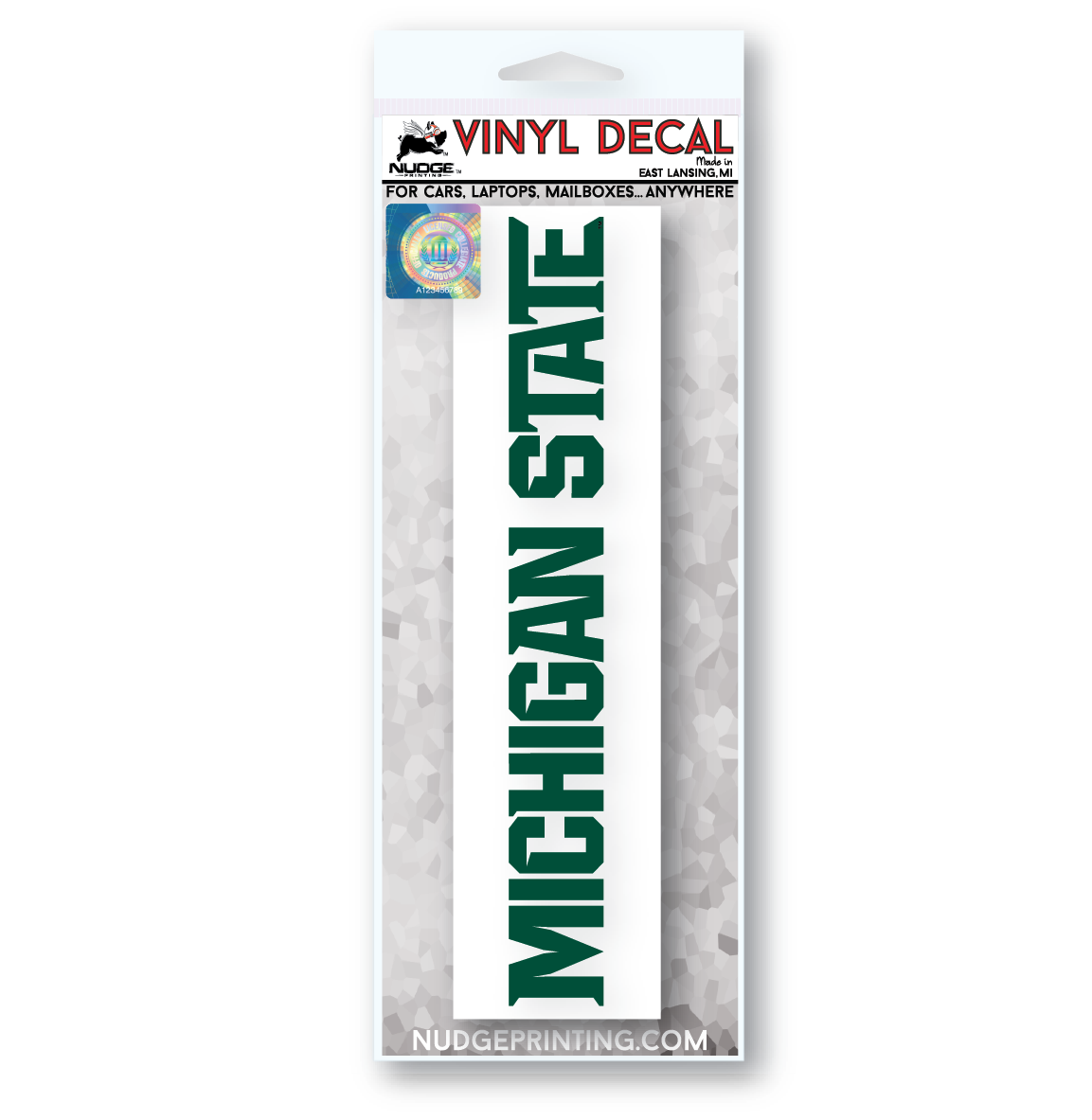 Michigan State University Athletics Font Vinyl Car Decal - Nudge Printing