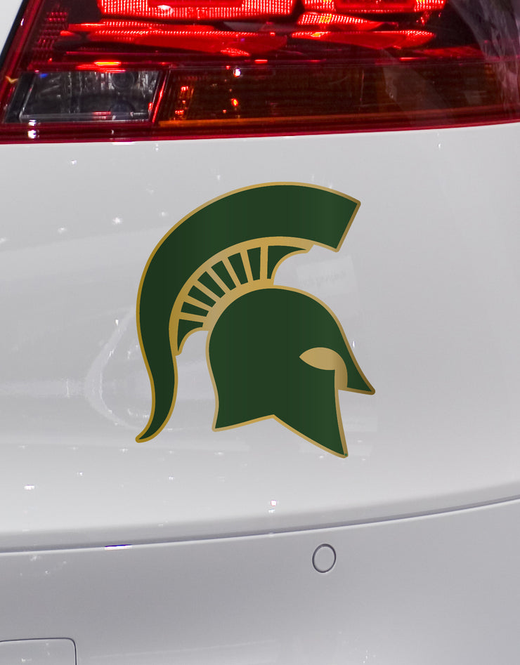 Michigan State Gold and Green Pro Combat Spartan Helmet Decal - Nudge Printing