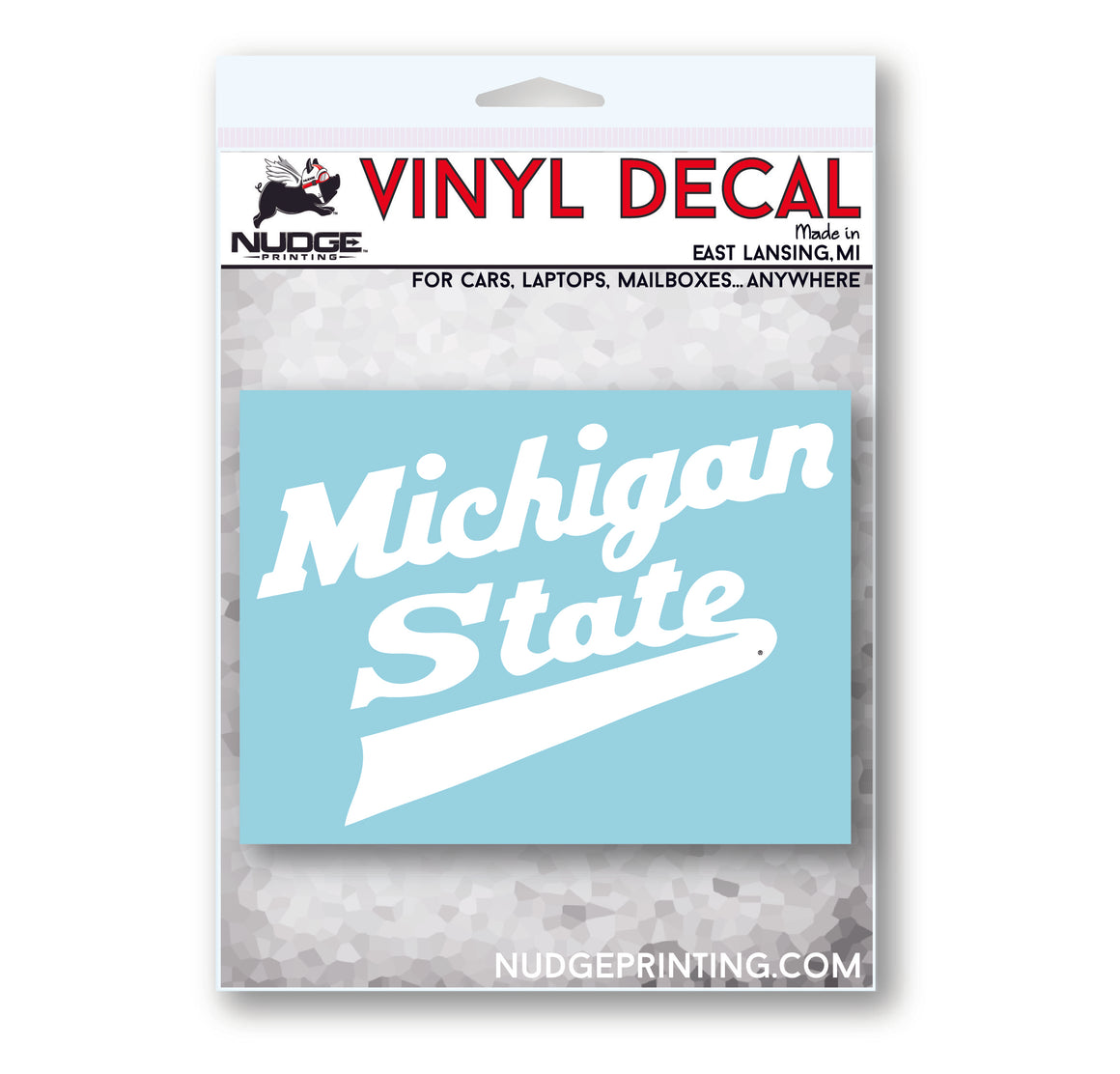 Michigan State MSU Hockey Script Logo Car Decal Bumper Sticker - Nudge Printing