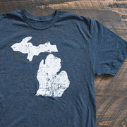 Michigan Mitten Stamp Vintage Distressed Logo T-shirt - Nudge Printing