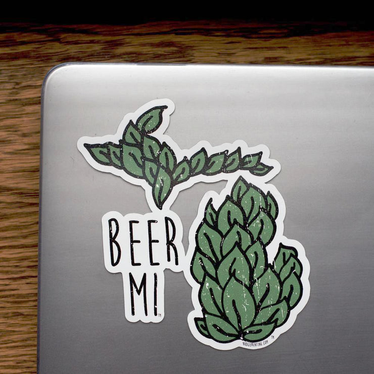 Beer MI Michigan Craft Beer Hops Vinyl Decal Sticker - Nudge Printing