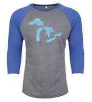 Great Lakes of Michigan Baseball 3/4 Sleeve Tri-Blend Raglan Shirt - Nudge Printing