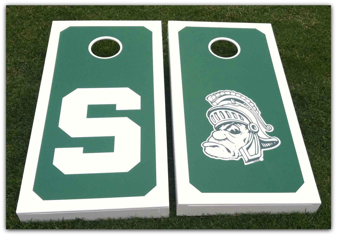 Michigan State MSU Spartan Corn Hole Bean Bag Toss Vinyl Decal Set - Nudge Printing