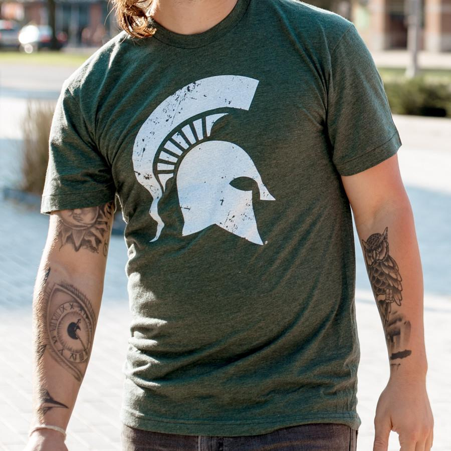 Classic Michigan State Spartan Helmet Sparty Head T-shirt - 3 Color Options - Nudge Printing