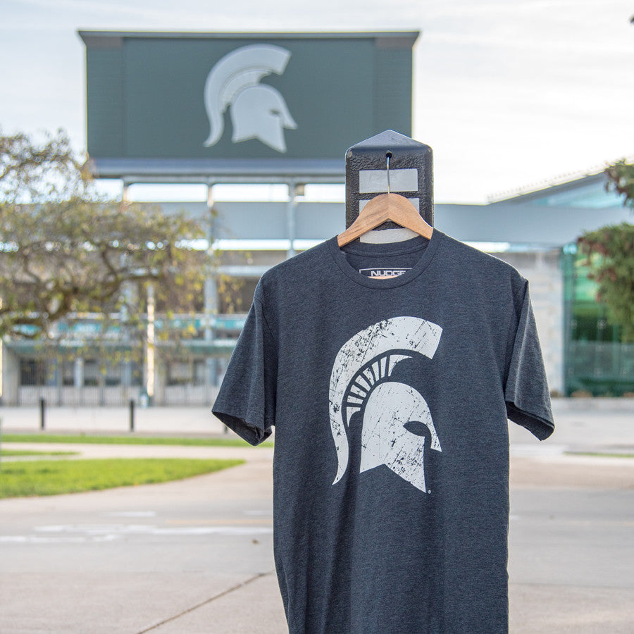 Charcoal Michigan State Spartan Helmet MSU T-shirt from Nudge Printing
