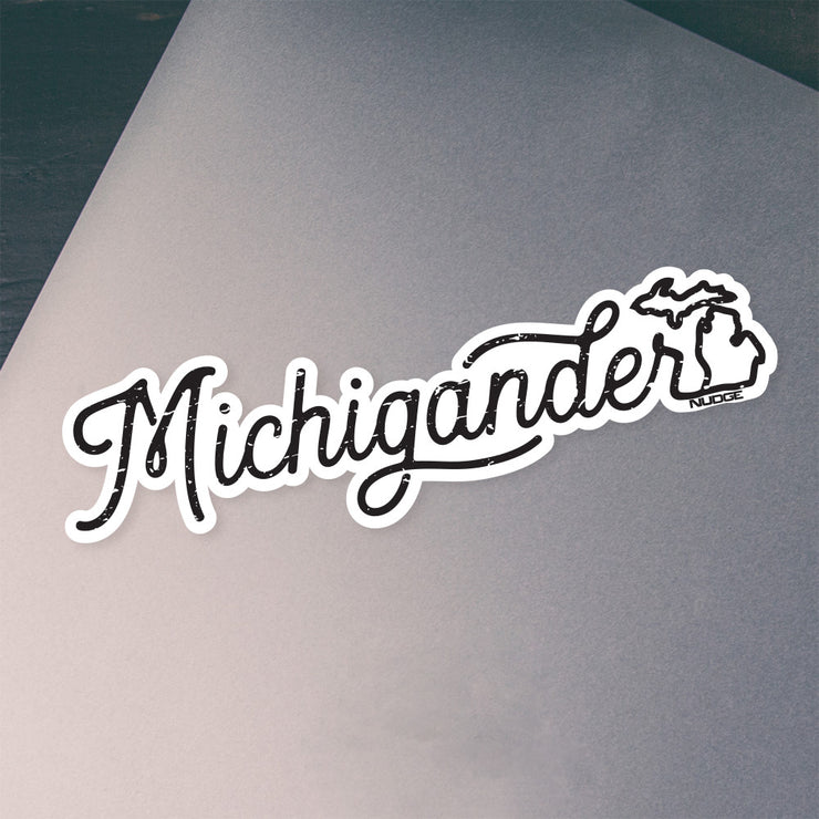 "Michigan ""Michigander"" Vinyl Car Decal Laptop Bumper Sticker - Nudge Printing"