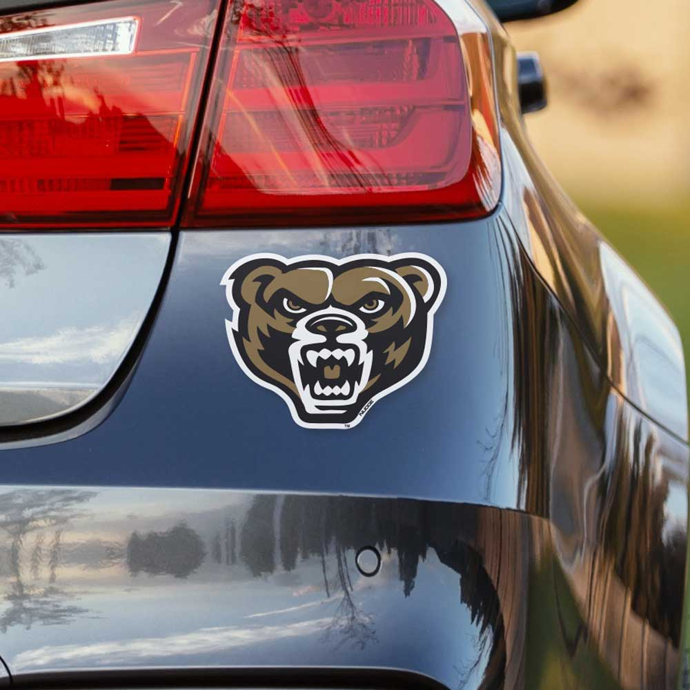 Oakland university golden grizz bear head full color vinyl car decal nudge printing