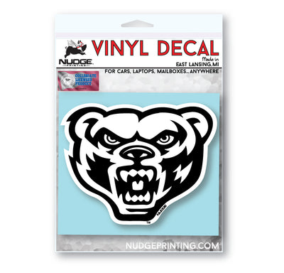 Oakland University - Golden Grizz Bear Head White and Black Vinyl Car Decal - Nudge Printing