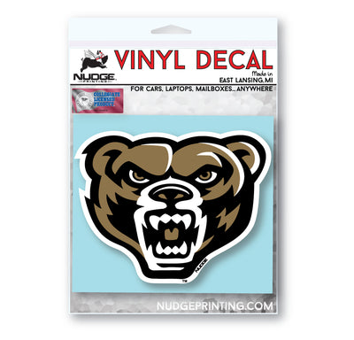 Oakland University - Golden Grizz Bear Head Full Color Vinyl Car Decal - Nudge Printing