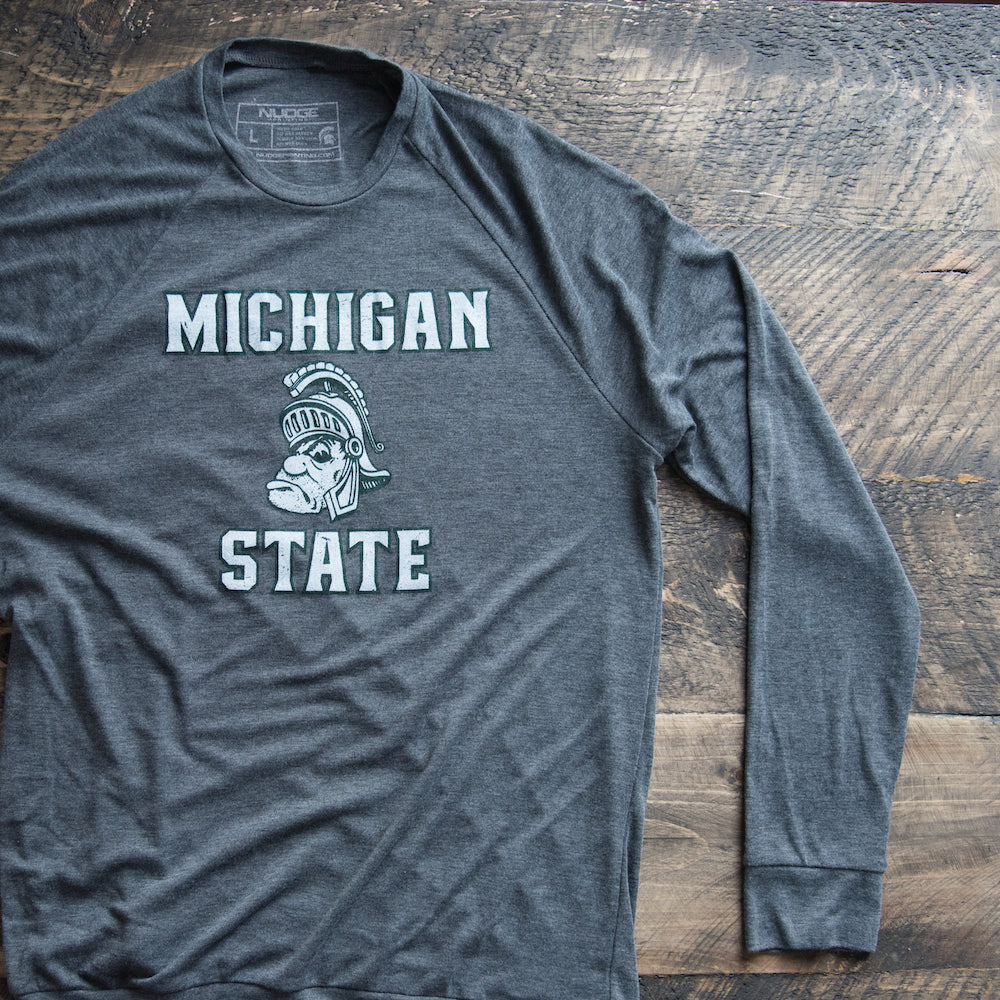 NEW - Michigan State University Spartans Gruff Sparty Lightweight Long Sleeve Sweater - Nudge Printing