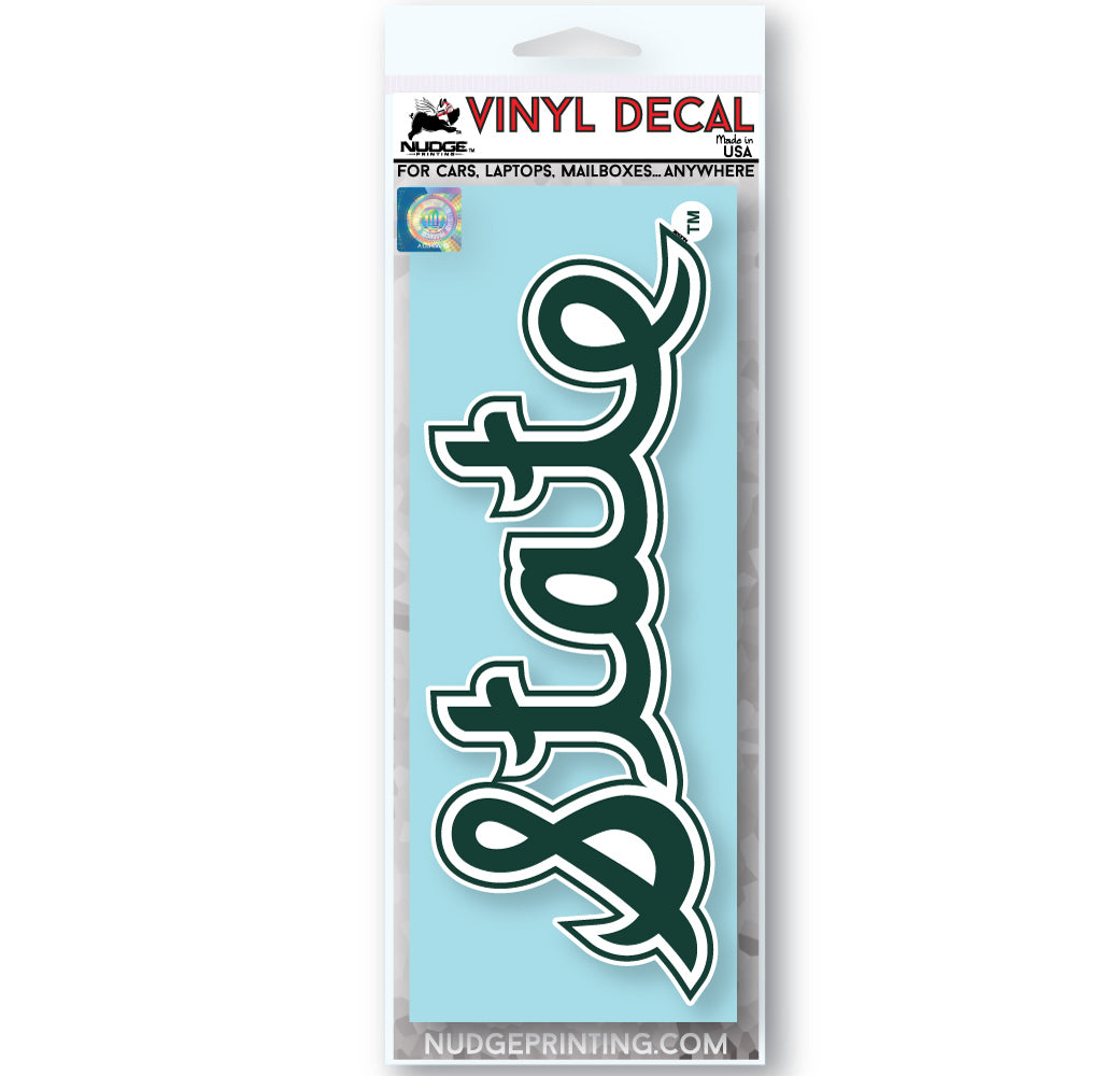 Michigan State Spartans Vintage Script Cursive State College Vault Car Window Decal - Nudge Printing