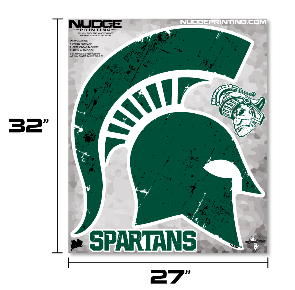 Classic Michigan State University Spartan Helmet Sparty Head - XL MSU Wall Decal Set - Nudge Printing